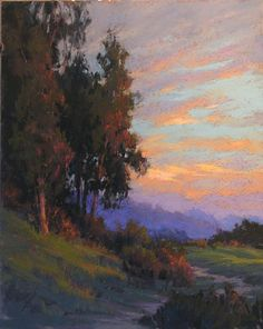 a sunset, grass and trees- painting, Kim Lordier