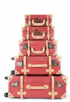 coral suitcases