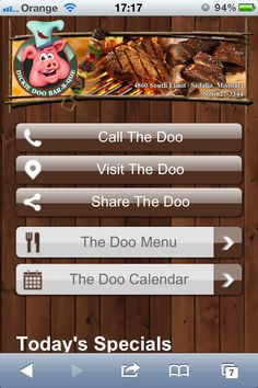 Dickie Doo bbq restaurant mobile website design. Love this design and love the name of the restaurant... let's all go to the Doo! Fantastic. The mobile site design is mapped out well. Has all the most important calls to action at the top of the navigation menu - call, map & share buttons, then you have the menu. Terrific. m.dickiedoobbq.com