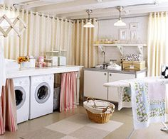 I Love this Idea! Not those colors.... but the curtains to hide crummy walls... ceiling paint idea.. :) basement laundry room - seal floor, paint walls & ceiling white, use curtains to hide ugly unfinished walls. basements are just a fairy tale here in Florida, but I adore this regardless.