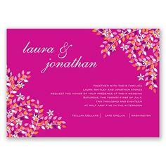 Romance in Season Wedding Invitation - in Begonia #WeddingInvitations #SummerWeddings #DavidsBridal