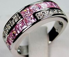 'Sz 7, 8, 9 Lab Pink Sapphire 10K WGF Ring' is going up for auction at  9am Sun, May 5 with a starting bid of $5.