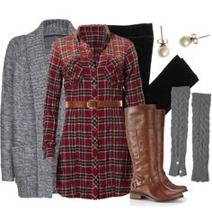 Leggings + Frye boots + pearls + plaid shirt dress + bulky sweater = perfect Friday outfit for moving weekend.