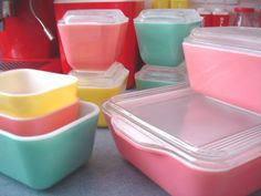 pyrex* pastel color :) by ilovehesby, via Flickr pastel colours, pastel colors, pastel refrigerator, kitchen