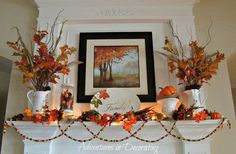 our fall mantel, seasonal holiday decor, The artwork from Tuesday Morning was my splurge this year it was exactly what I wanted as the focal point