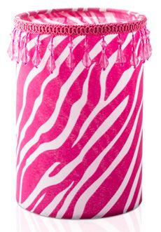 Fabric Shade Pink Zebra w/Pink Beaded Trim $20