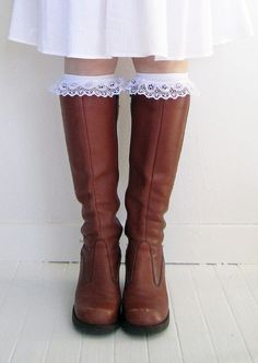 embellished socks tall brown boots