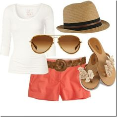 Summer Time.... Simple and adorable...aviators, fedora, coral  <3