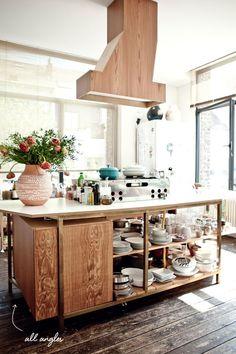 angular wood and brass kitchen island // milk magazine