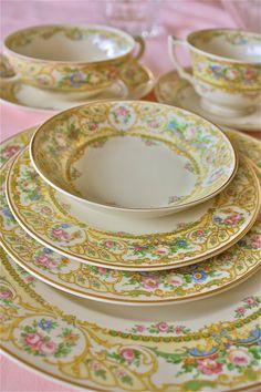 Syracuse China-Old Ivory- Rose Marie Pattern-Rose Marie dishes-LARGE set of china on Etsy, $90.00