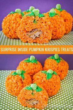 Surprise Inside Rice Krispies Treats Pumpkins