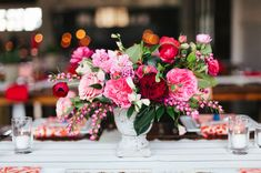 pretty pinks + reds in a vase