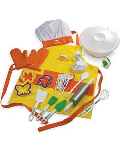 Let your little chef apprentice in the kitchen now, and maybe you can have a night off once he grows up a bit and takes over cooking duties! Click above to buy this fun 27-piece chef set.