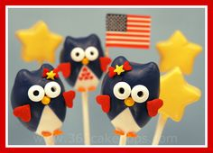 Every Day Should Pop!: Memorial Day 2012 owl cakepop, fun food, happi 4th, memorial day, food decor, cake pops, 4th of july, juli, owl cakes