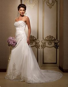 Strapless dropped waist A-line taffeta wedding dress...CUTE!!!!