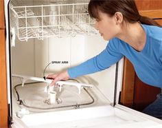 An easy cleaning trick to fix a dishwasher that isn't cleaning the dishes. #dishwasher