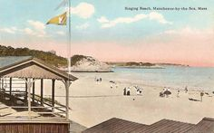 A vintage postcard for Singing Beach in Manchester MA.