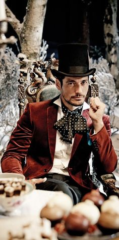 MandS David Gandy Vogue 31Oct 13 holiday, fashion, ms christma, david gandy, david gandi, christmas, men, davidgandi, mad hatter