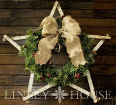 The Linley House : Carpenter's Christmas Star Wreath, made with a carpenter's ruler.