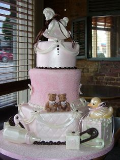 cake timelesstreasur, decorate cakes, baby shower cakes, cake idea, cake decor, twin babies, babi shower, angel cake26, baby showers