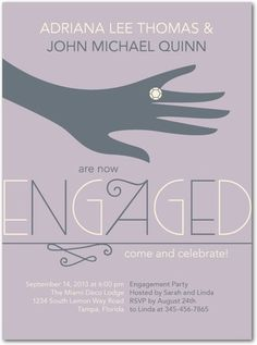 Signature White Engagement Party Invitations Society Soiree