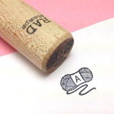 Custom Initial Skein of Yarn Rubber Stamp - Peg Stamp - custom stamp