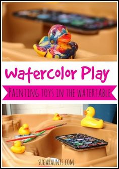 Bring toys and watercolors together for a fun painting experience. Sugar Aunts