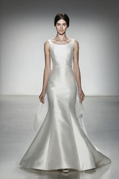 Jane  Silk magnolia and silk organza fit to flare gown with batteau neckline and cascading organza border sash