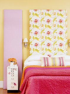 DIY Headboard via bhg.com - Tall Order  Create a custom headboard that rises to the occasion by covering an inexpensive artist's canvas with fabric. Just pull the fabric tightly across the frame and secure with a staple gun. Then prop the canvas behind your bed -- no power tools required. When it's time to change out your bedding, simply re-cover the canvas with new coordinating fabric for a fresh look.