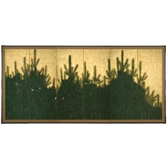 New Year Plums and Pines Japan 17th century Pair of six-panel folding screens