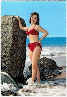 Such a beautiful ruby hued 1950s bikini. #vintage #1950s #beach #model #summer #red #bikini