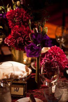 16. Table setting theme #modcloth #wedding purple flowers