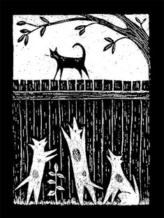 lino print ~cat & dogs