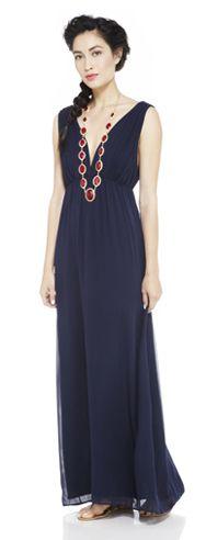 maxi dresses, statement necklaces, elegant dresses, outfit blue necklace, the dress