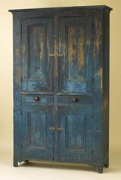 Pennsylvania painted pine wall cupboard, early 1