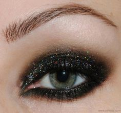 Black glitter smokey eye