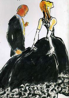 Oscar de la Renta illustration by Gladys Perint Palmer.