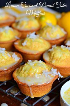 Coconut Lemon Pound Cake Muffins | from willcookforsmiles.com #muffin #lemon #poundcake  # mybloom