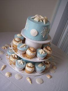 Beach theme cupcake wedding cake!!! love it!!!