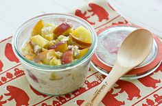 10 Overnight Oats Recipes to Make Mornings Easier | Ginger Peach Oats: Extend summer just a bit by adding chopped ripe peaches to your oats, says Oh My Veggies creator Kiersten Frase. That, plus crystallized ginger and vanilla almond milk means you shouldn't need added sweeteners.