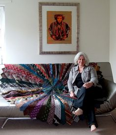 I had an idea to make a Christmas tree skirt from old neckties, but this lady went whole hog and made a huge rug. Several, in fact.   tierug | Flickr - Photo Sharing!