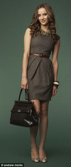 Work Style: Belted linen dress with statement necklace, bangles, and bag