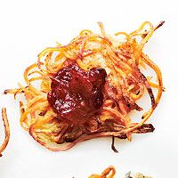 Sweet Potato-Apple Latkes with Cranberry Sauce