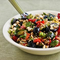 Whole Wheat Orzo and Grilled Vegetable Salad with Feta, Olives, and Herbs