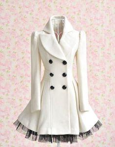 jacket, peacoat, ruffl, color, dress, audrey hepburn, white, closet, winter coats