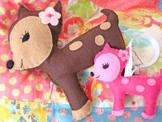 Felt Pattern - Dottie Deer Felt Plushie and Ornament - PDF Pattern - Instant Download...super cute and easy project idea! #etsy #felt #sewing