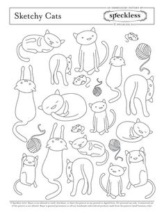 Embroidery Pattern sketchy cats