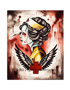 Zombie Nurse Art Print on Etsy, $15.00