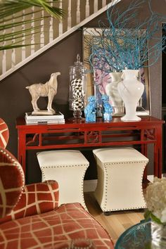 Entry way ideas - lots of color makes the home instantly lively. Love the giraffe chair!