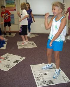 Practice personal space with 'newspaper dancing'.  I'm so doing this!